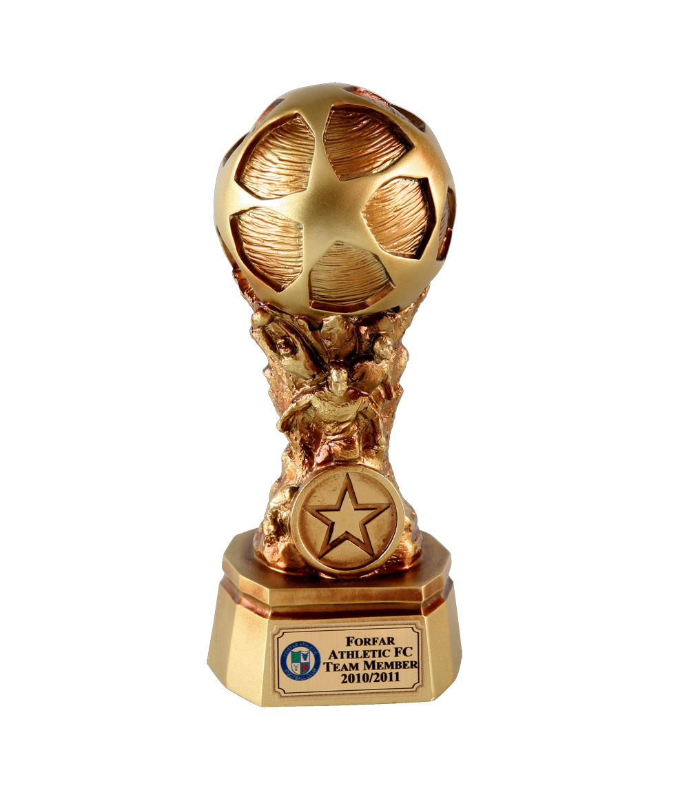 Gold football world cup trophy satin gold football world cup trophy